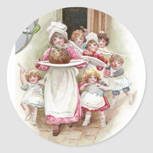 Eager for Plum Pudding Vintage Christmas Round Stickers