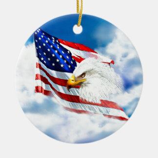 Eagle and American Flag Christmas Ornament