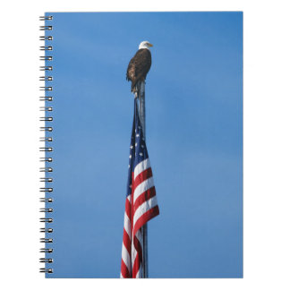 Eagle and American Flag - Spiral notebook