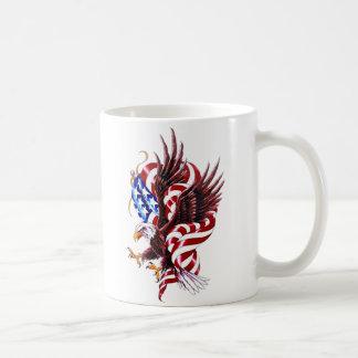 Eagle and American Flag Tatoo Illustration Style Basic White Mug