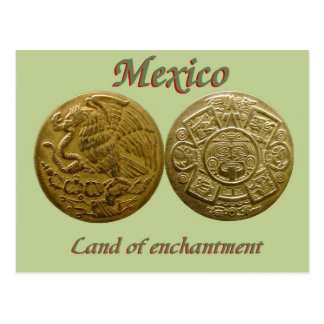 Eagle and Aztec sun disk post card