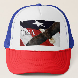 Eagle and Flag USA Trucker Hat