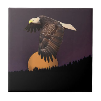 EAGLE AND MOON SMALL SQUARE TILE