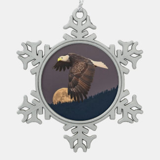 EAGLE AND MOON SNOWFLAKE PEWTER CHRISTMAS ORNAMENT