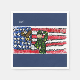 Eagle and solider disposable serviette