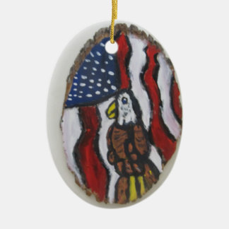 Eagle art two ceramic oval decoration