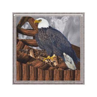 Eagle Bird Prey Nest America King Majestic Symbol Stretched Canvas Print