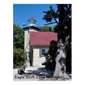 Eagle Bluff lighthouse image on postcard