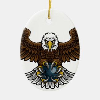 Eagle Bowling Sports Mascot Christmas Ornament