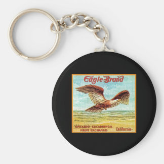 Eagle Brand Fruit Crate Label Basic Round Button Key Ring