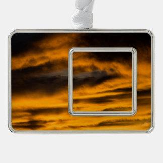 eagle burnout silver plated framed ornament