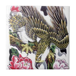 Eagle & Chrysanthemum tattoo design Small Square Tile