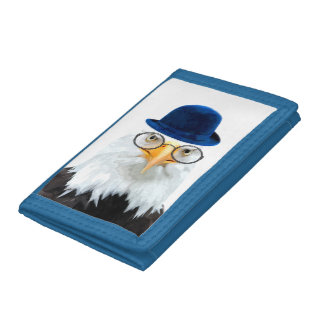 Eagle cute and funny wild animal kids children trifold wallets