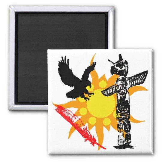Eagle, Eagle Totem, & Feather design Square Magnet