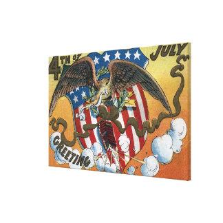 Eagle Emblem Holding Fireworks, Flag-Shield Stretched Canvas Print