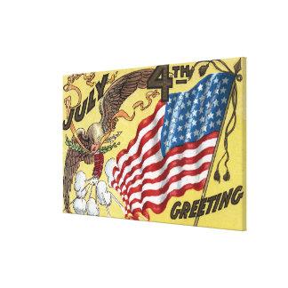 Eagle Emblem Holding Fireworks, Flag Stretched Canvas Prints