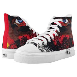 Eagle face lace shoes printed shoes