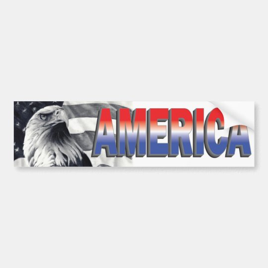 Eagle & Flag America Bumper Sticker