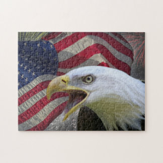 Eagle, flag and fireworks jigsaw puzzle
