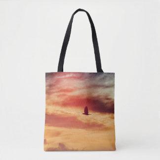 Eagle Flying at Sunset Tote Bag