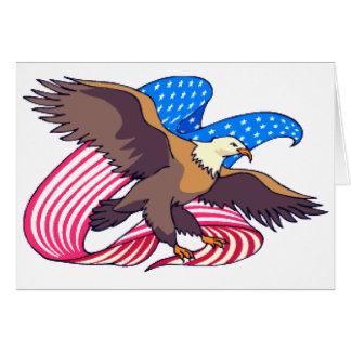 Eagle Flying Flag Greeting Card