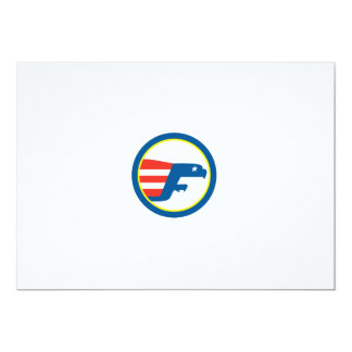 Eagle Flying Flag Side Circle Retro Personalized Announcements