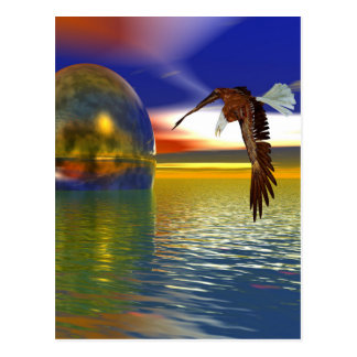 Eagle Flying over Water with Sphere, 3d Look Postcard