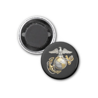 Eagle Globe and Anchor 3 Cm Round Magnet