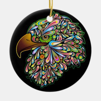 Eagle Hawk Psychedelic Design Ornament
