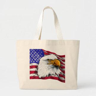 Eagle Head with Flag tote bag
