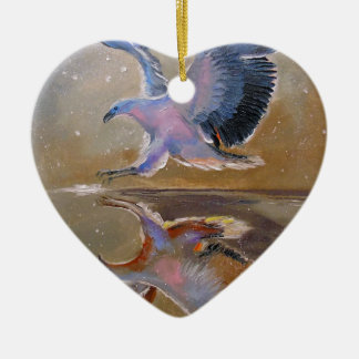 eagle hunting ceramic heart decoration