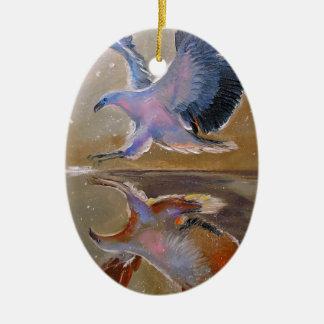 eagle hunting ceramic oval decoration