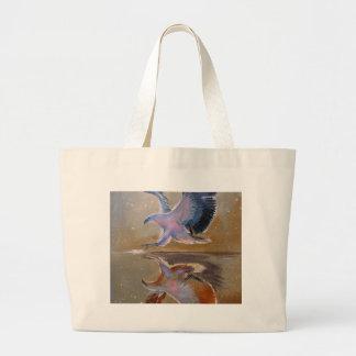eagle hunting large tote bag