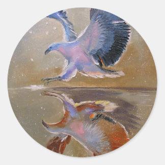 eagle hunting round sticker