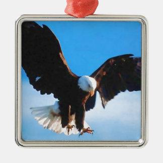 Eagle in Flight Silver-Colored Square Decoration