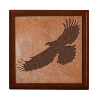 Eagle inlaid leather trinket box