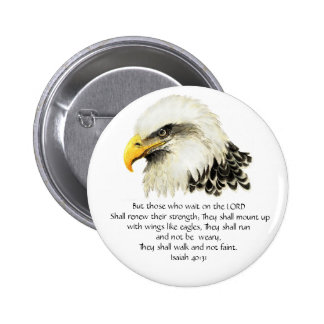 Eagle - Inspirational - Scripture - They that wait 6 Cm Round Badge