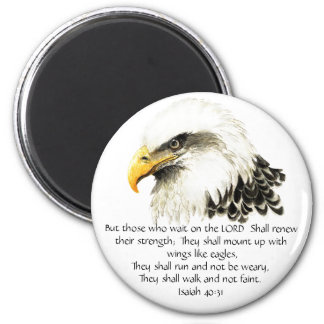 Eagle - Inspirational - Scripture - They that wait 6 Cm Round Magnet