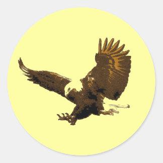 Eagle Landing Round Sticker