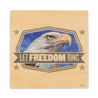 Eagle-Let Freedom Ring Wood Coaster