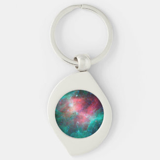 Eagle Nebula (Infrared) Silver-Colored Swirl Key Ring