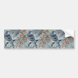 Eagle on a maple branch Ukiyoe Bumper Sticker