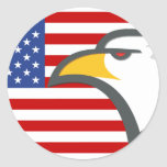 Eagle on American Flag Sticker