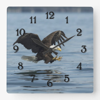 Eagle on Approach Square Wall Clock
