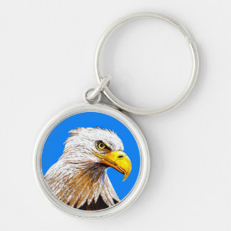 Eagle on Blue Key Ring