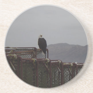 Eagle on Crab pots Coaster