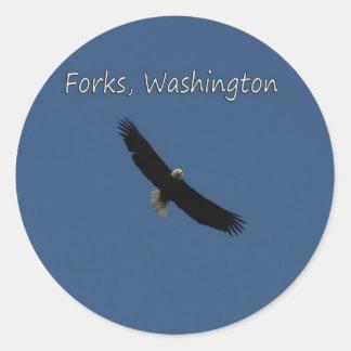Eagle over Forks, Washington Round Stickers