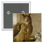 Eagle Owl and Cat with Dead Rats 15 Cm Square Badge