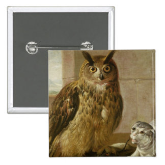 Eagle Owl and Cat with Dead Rats Pinback Buttons