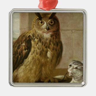 Eagle Owl and Cat with Dead Rats Christmas Ornament